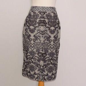 Yoana Baraschi Lace Print Pencil Skirt